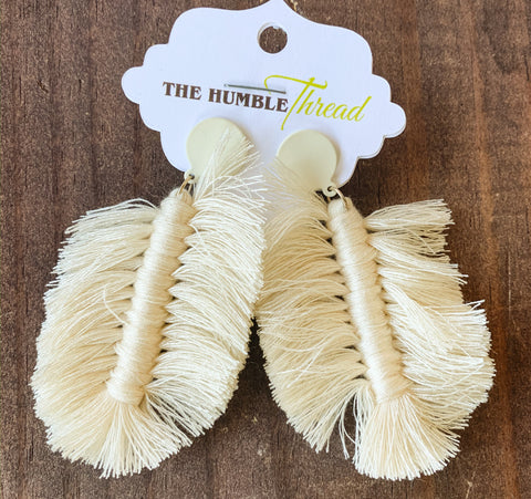 Boho Ivory Fringe Earrings