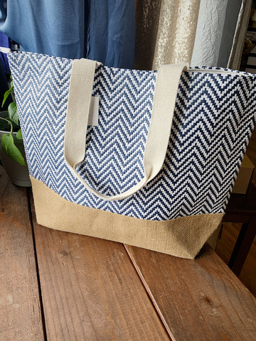 Navy Chevron Tote Bag