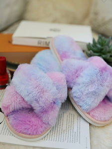 Purple & Blue Faux Fur Slippers