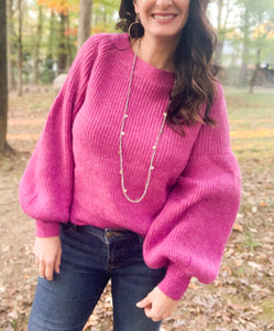 Orchid Puff Sleeve Knit Sweater