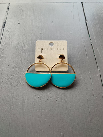 Teal Half Circle Earrings