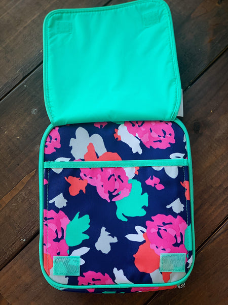 Navy and Mint Floral Lunchbox