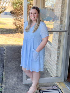 Baby Blue Textured Dot Babydoll Dress