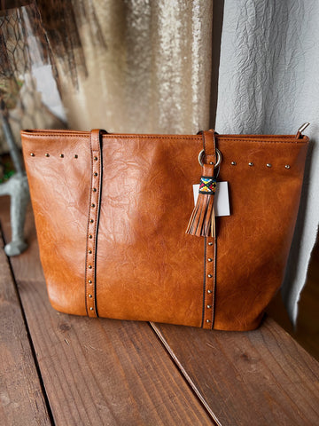 Faux Leather Studded Camel Tote