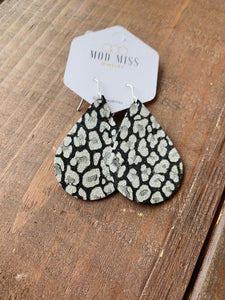 Metallic Silver & Black Leopard Earrings