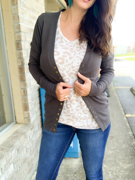 Charcoal Snap Button Cardigan