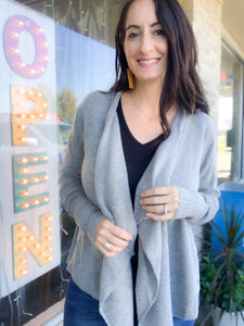 Heather Grey Knit Asymmetrical Cardigan