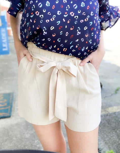Taupe Woven High Waist Shorts