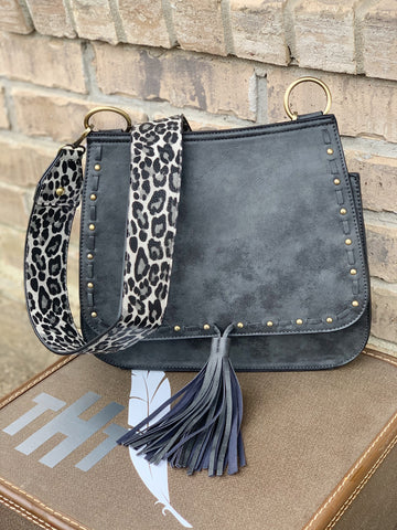 Black Studded Animal Print Crossbody