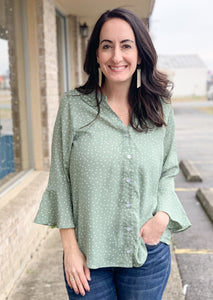 Sage Polka Dot Bell Sleeve Blouse