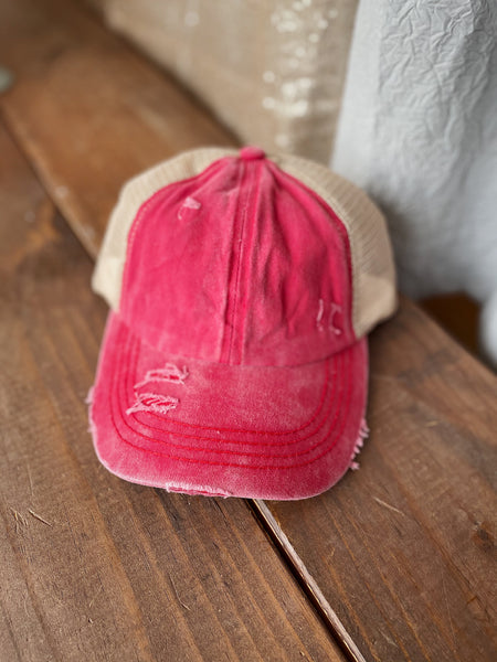 Red Distressed Ponytail Cap