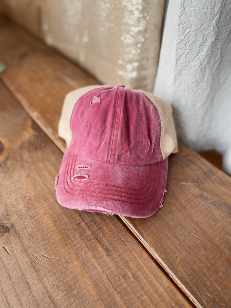 Berry Distressed Ponytail Cap