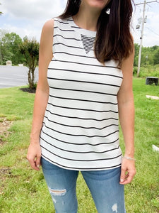 Striped Tank with Contrast Back