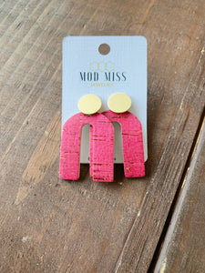 Pink Cork Earrings with Gold Stud