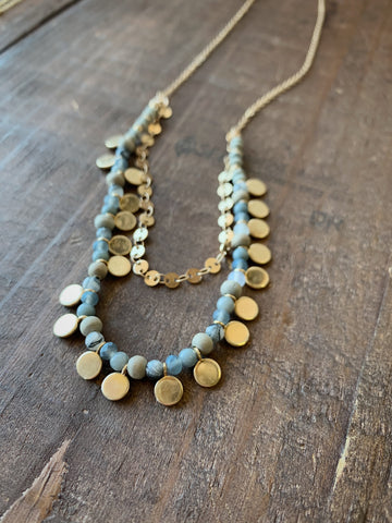 Gray Disc Layered Necklace