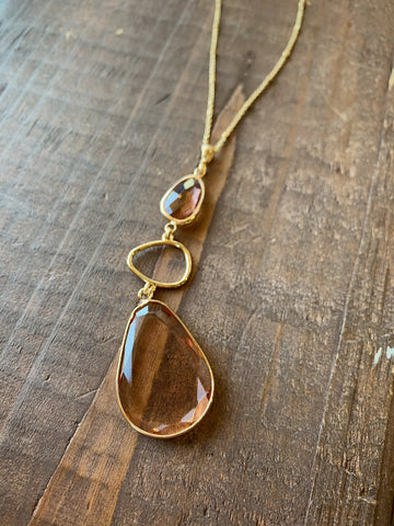 Long Tiered Gem Pendant Necklace