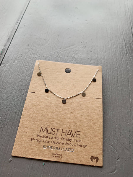 Dainty Silver Circle Disk Necklace