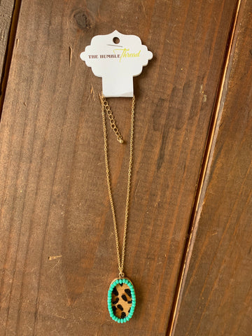 Teal and Leopard Pendant Necklace