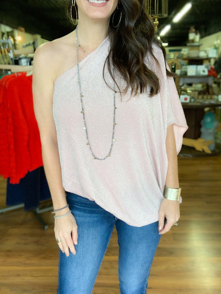 Pink Champagne One Shoulder Blouse
