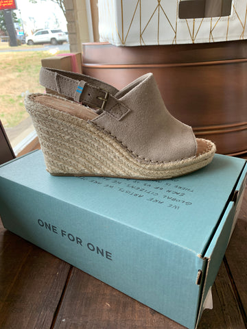 Taupe Suede Toms Wedges