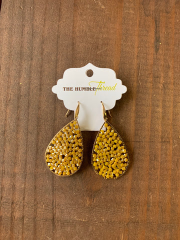 Mustard Yellow Beaded Teardrop Earring