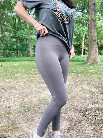 Grey Leggings with Criss-Cross Detail