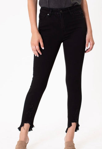 Black High Rise Ankle Skinny Jeans