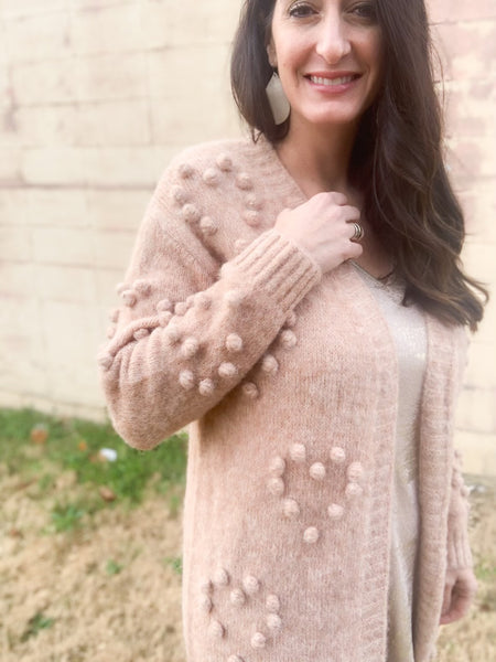 Blush Textured Heart Cardigan