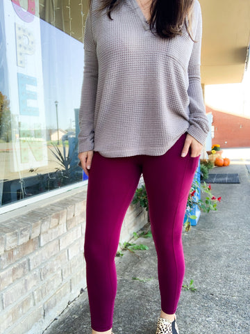Burgundy Butter Leggings w/ Phone Pocket