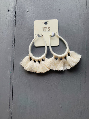 Ivory Fringe Statement Earrings