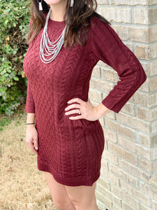 Burgundy knit sweater dress