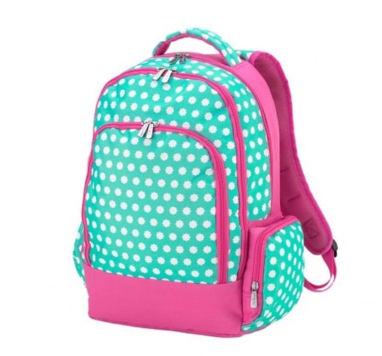 Mint and Pink Daisy Print Backpack