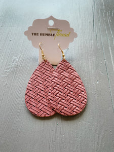 Plum Weave Leather Earrings