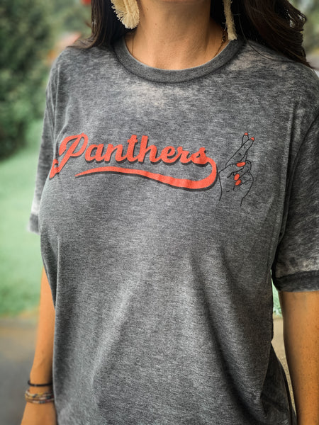 Charcoal Acid Wash Panthers Tee