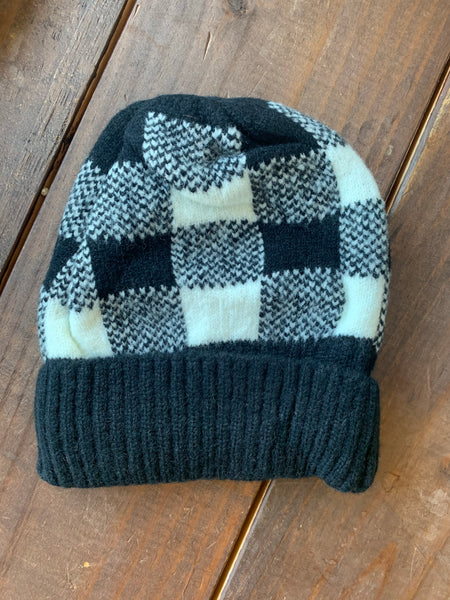Black and White Buffalo Plaid Beanie