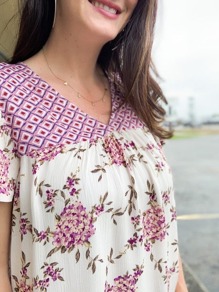 Mixed Geo Floral Print Top