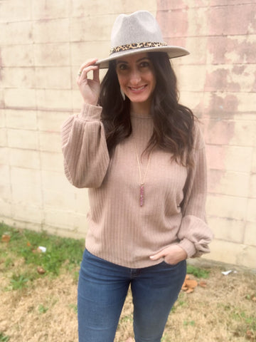 Taupe Ribbed Balloon Sleeve Top