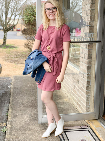 Mulberry Mini Dress With Side Tie
