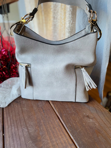 Grey Tassel Hobo Bag