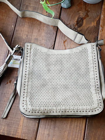 Grey Lasercut Crossbody Purse