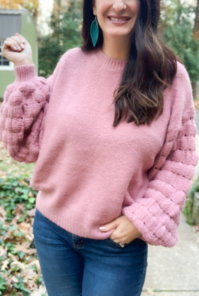 Faded Rose Bubble Sleeve Sweater