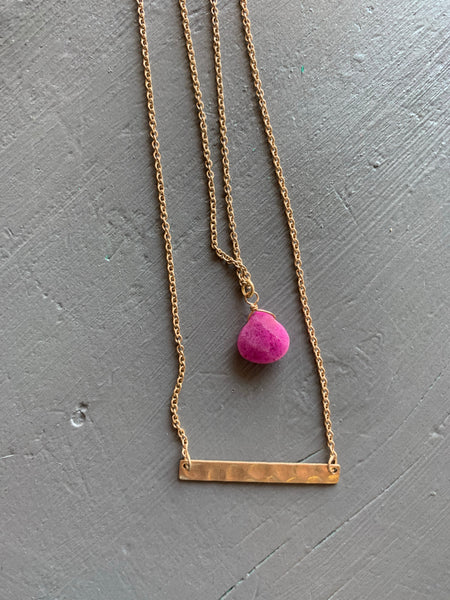 Gold and Plum Layered Necklace