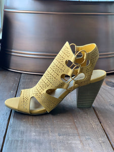 Mustard Perforated Stacked Heel