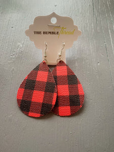 Red Buffalo Check Earrings