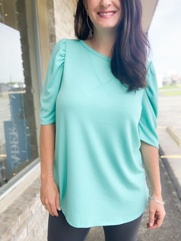 Mint French Terry Puffy Sleeve Top