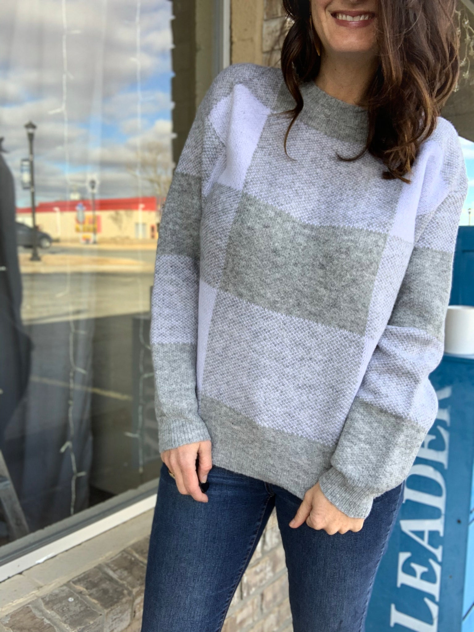 White and Grey Plaid Sweater