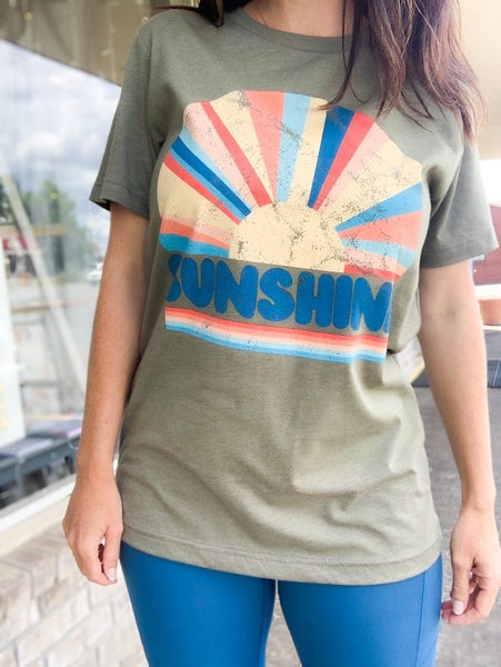 Olive Sunshine Distressed T-Shirt