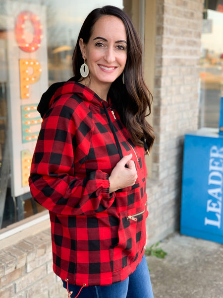Buffalo Plaid Pullover Jacket