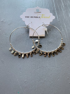 Silver Hoop Earring with Charms
