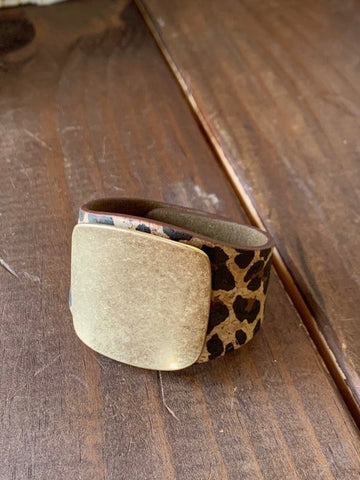 Leopard Leather Cuff w/ Gold Accents